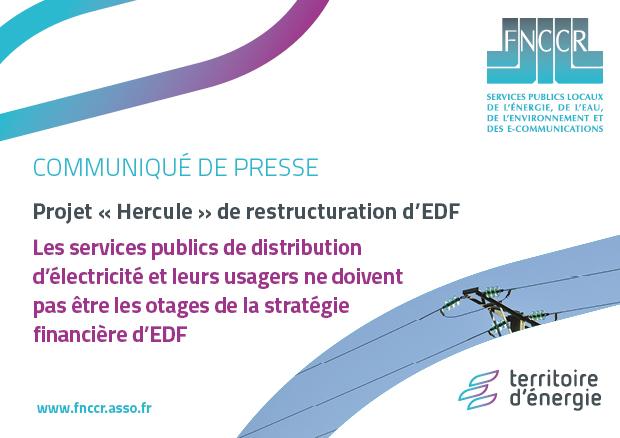 [Communiqué de presse] Projet « Hercule » de restructuration d'EDF : les services publics de distribution d'électricité et leurs usagers ne doivent pas être les otages de la stratégie financière d'EDF. La FNCCR et TE38 se mobilisent.