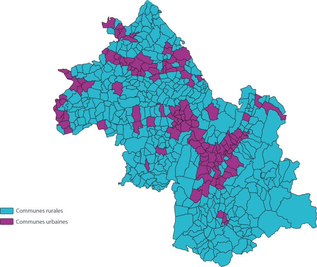Communes rurales et urbaines Isere